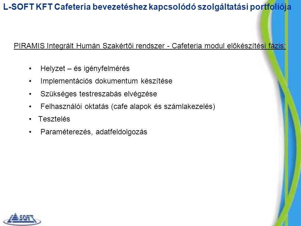 PIRAMIS Integrált Humán Szakértői rendszer - Cafeteria modul előkészítési fázis: Helyzet – és igényfelmérés Implementációs dokumentum készítése Szükséges testreszabás elvégzése Felhasználói oktatás (cafe alapok és számlakezelés) Tesztelés Paraméterezés, adatfeldolgozás L-SOFT KFT Cafeteria bevezetéshez kapcsolódó szolgáltatási portfoliója