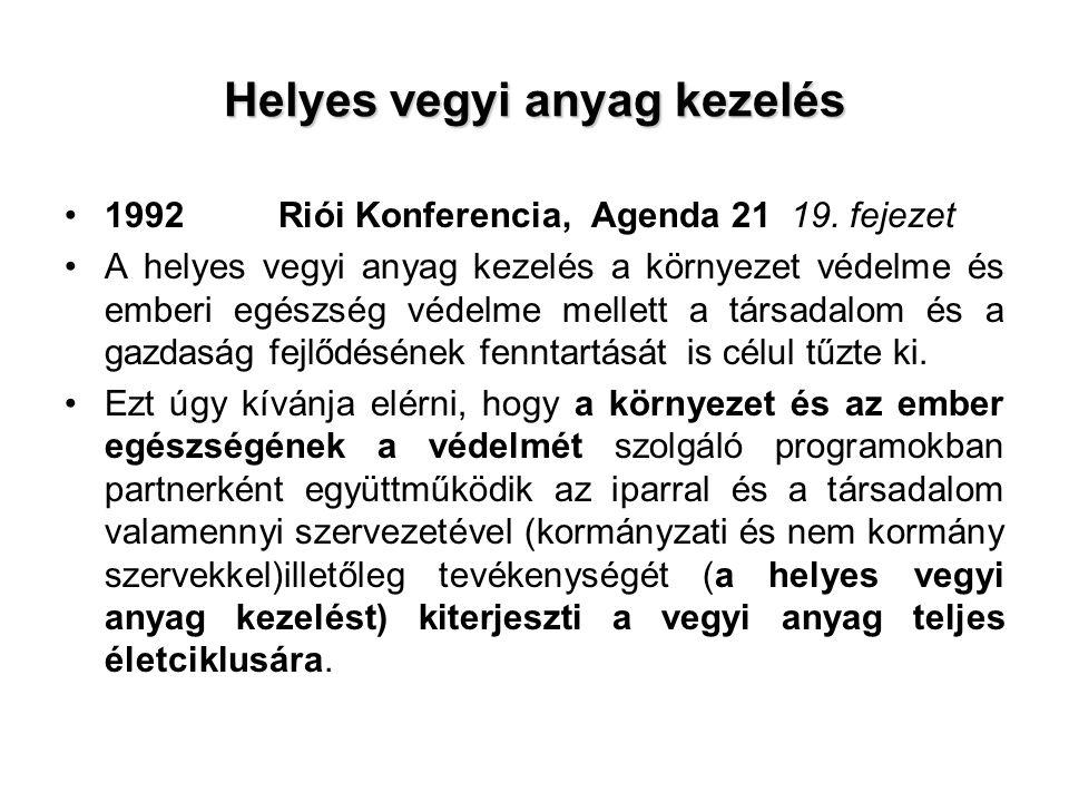 Helyes vegyi anyag kezelés 1992Riói Konferencia, Agenda 21 19.