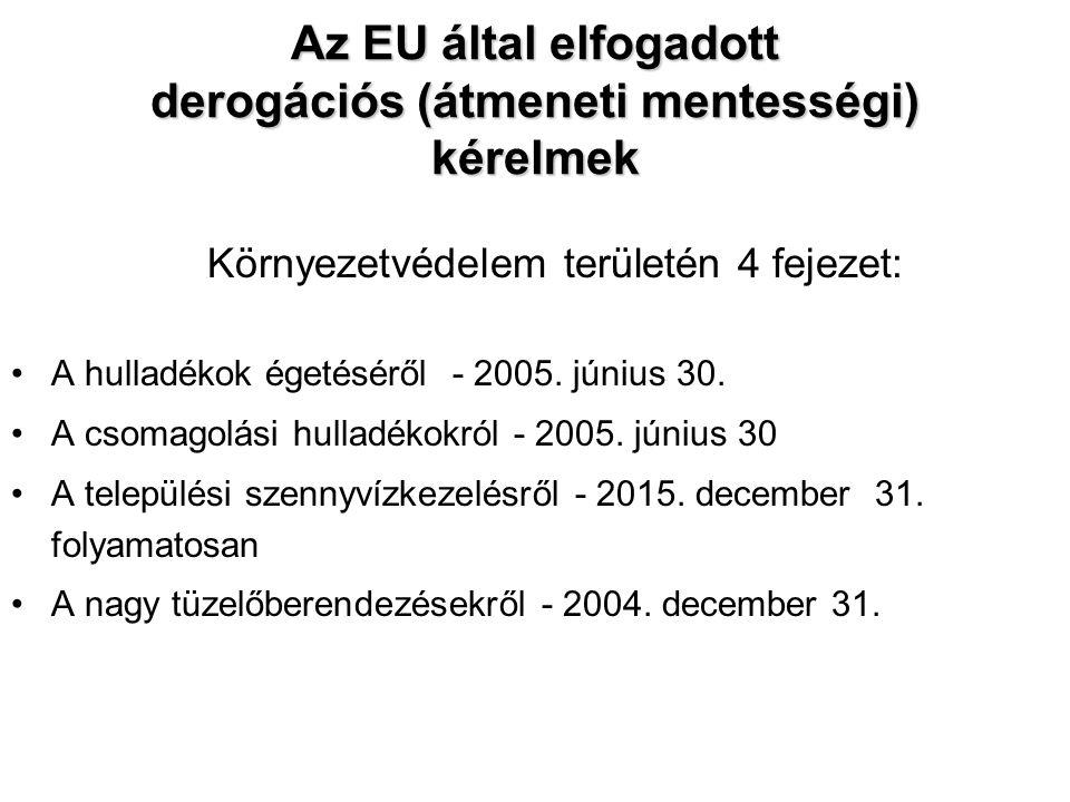 Az EU által elfogadott derogációs (átmeneti mentességi) kérelmek Környezetvédelem területén 4 fejezet: A hulladékok égetéséről - 2005.