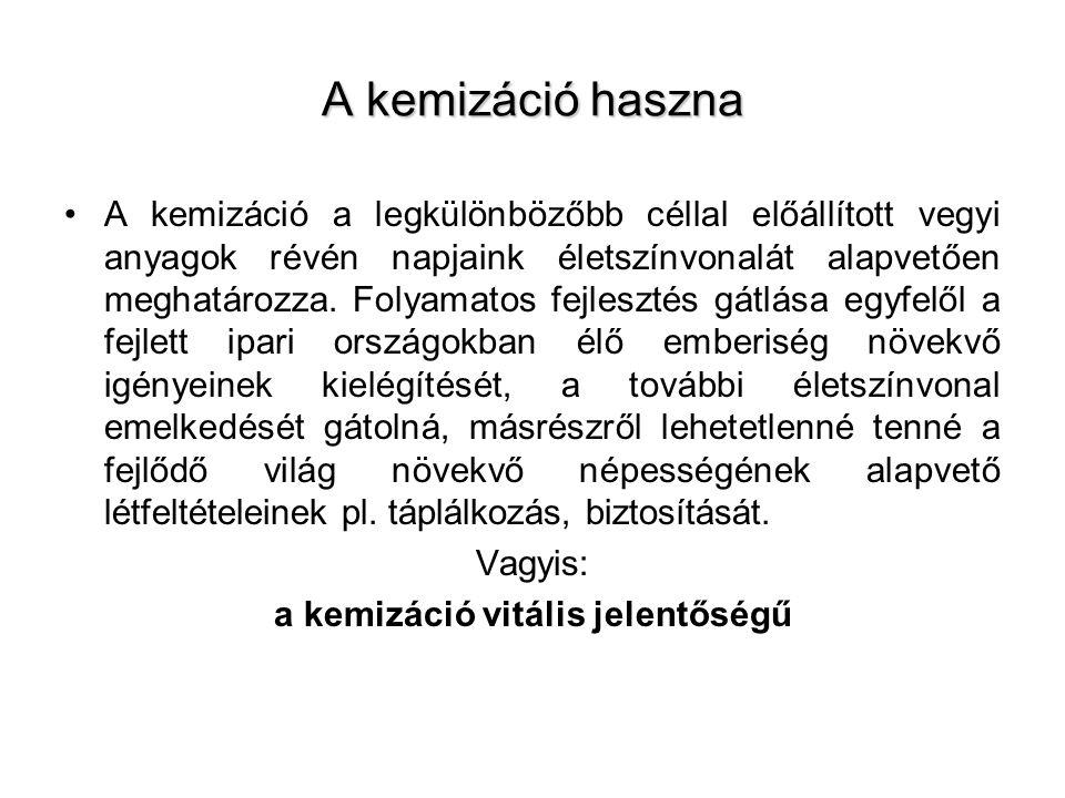 Kémiai biztonság A vegyipar legfontosabb központjai legsűrűbben lakott területekre esnek: Budapesten és környékén, Tiszavasváriban, Tiszaújvárosban, Kazincbarcikán, Debrecenben, Szolnokon találhatók.