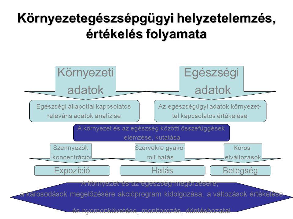 Környezetegészsépgügyi helyzetelemzés, értékelés folyamata Környezeti adatok Egészségi adatok Egészségi állapottal kapcsolatos releváns adatok analízise Az egészségügyi adatok környezet- tel kapcsolatos értékelése A környezet és az egészség közötti összefüggések elemzése, kutatása Szennyezők koncentrációi Szervekre gyako- rolt hatás Kóros elváltozások ExpozícióHatásBetegség A környezet és az egészség megőrzésére, a károsodások megelőzésére akcióprogram kidolgozása, a változások értékelése és nyomonkövetése, monitorozás, döntéshozatal