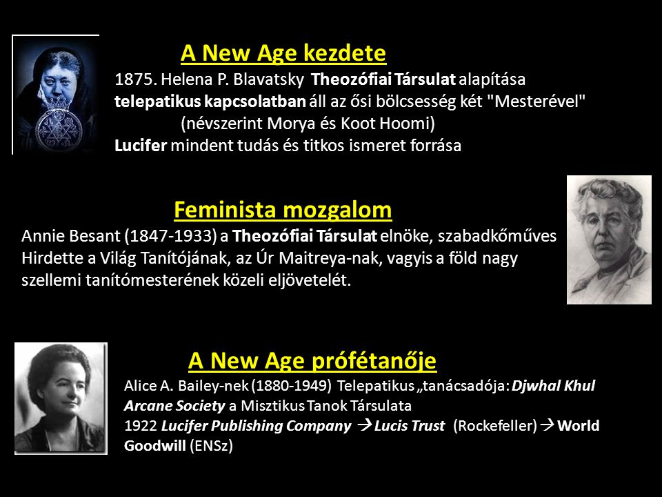 A New Age kezdete 1875. Helena P. Blavatsky Theozófiai Társulat alapítása telepatikus kapcsolatban áll az ősi bölcsesség két