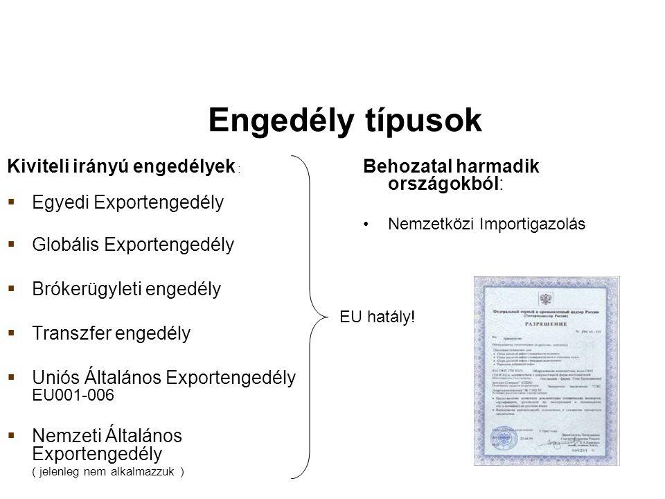 Engedély típusok Kiviteli irányú engedélyek :  Egyedi Exportengedély  Globális Exportengedély  Brókerügyleti engedély  Transzfer engedély  Uniós Általános Exportengedély EU001-006  Nemzeti Általános Exportengedély ( jelenleg nem alkalmazzuk ) Behozatal harmadik országokból: Nemzetközi Importigazolás EU hatály!