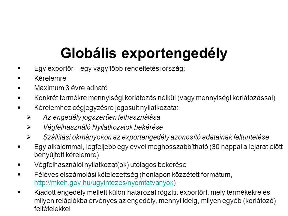 Globális exportengedély  Egy exportőr – egy vagy több rendeltetési ország;  Kérelemre  Maximum 3 évre adható  Konkrét termékre mennyiségi korlátozás nélkül (vagy mennyiségi korlátozással)  Kérelemhez cégjegyzésre jogosult nyilatkozata:  Az engedély jogszerűen felhasználása  Végfelhasználó Nyilatkozatok bekérése  Szállítási okmányokon az exportengedély azonosító adatainak feltüntetése  Egy alkalommal, legfeljebb egy évvel meghosszabbítható (30 nappal a lejárat előtt benyújtott kérelemre)  Végfelhasználói nyilatkozat(ok) utólagos bekérése  Féléves elszámolási kötelezettség (honlapon közzétett formátum, http://mkeh.gov.hu/ugyintezes/nyomtatvanyok) http://mkeh.gov.hu/ugyintezes/nyomtatvanyok  Kiadott engedély mellett külön határozat rögzíti: exportőrt, mely termékekre és milyen relációkba érvényes az engedély, mennyi ideig, milyen egyéb (korlátozó) feltételekkel