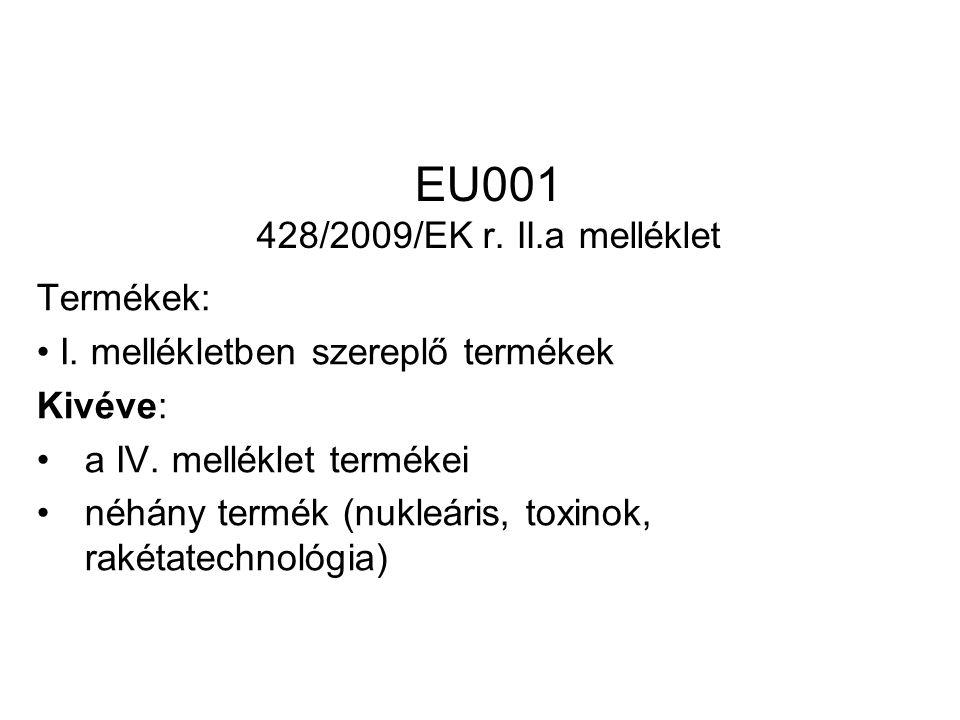 EU001 428/2009/EK r. II.a melléklet Termékek: I. mellékletben szereplő termékek Kivéve: a IV.