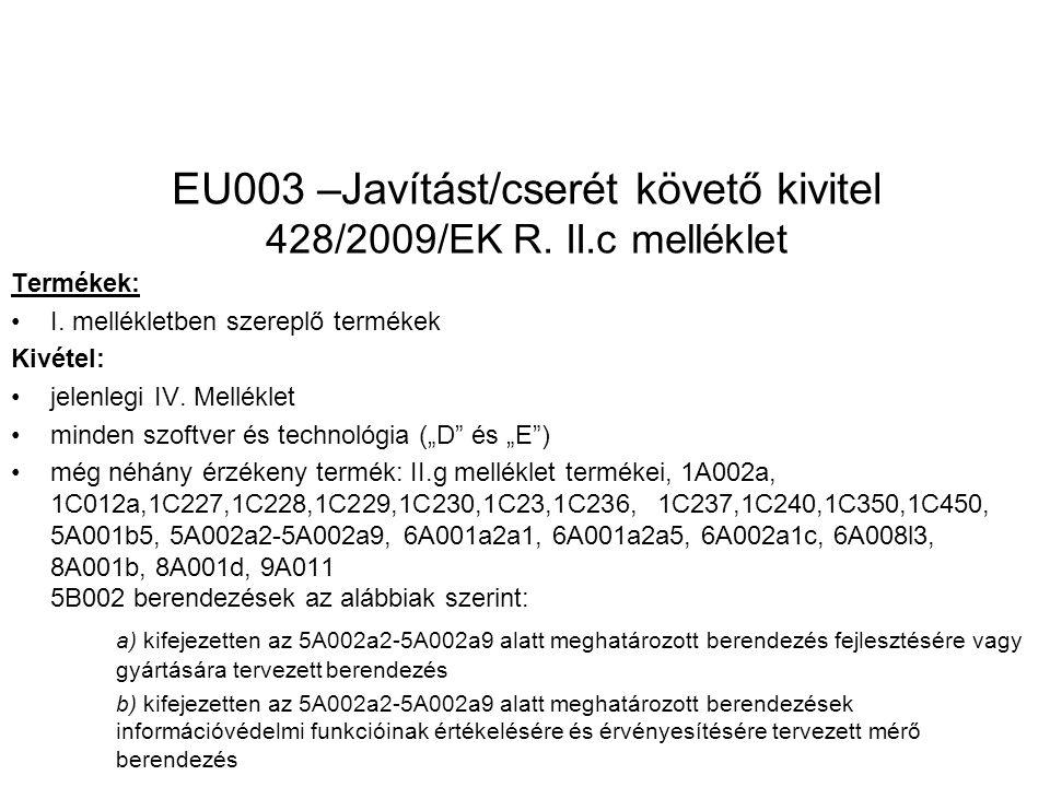 EU003 –Javítást/cserét követő kivitel 428/2009/EK R.