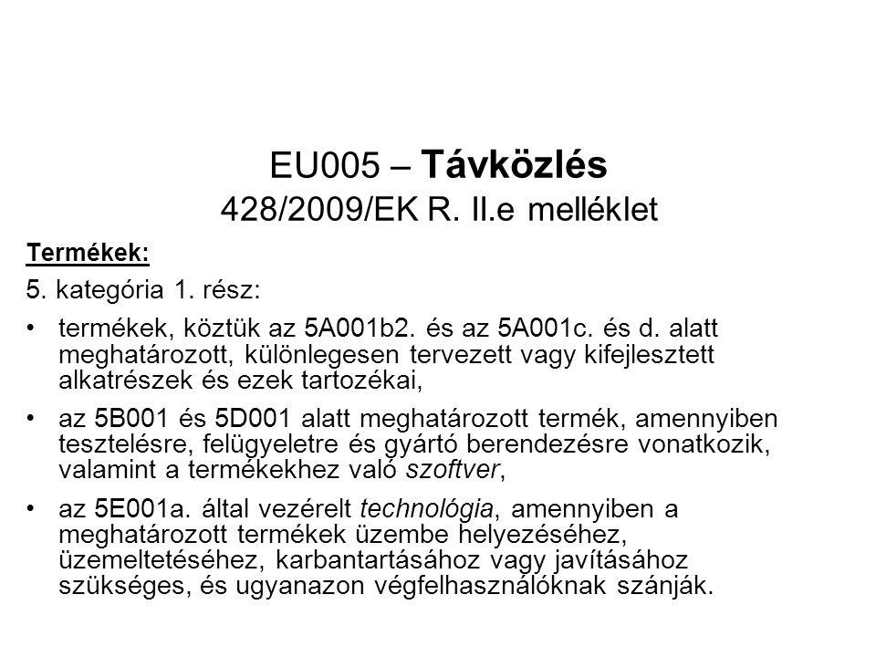 EU005 – Távközlés 428/2009/EK R. II.e melléklet Termékek: 5.