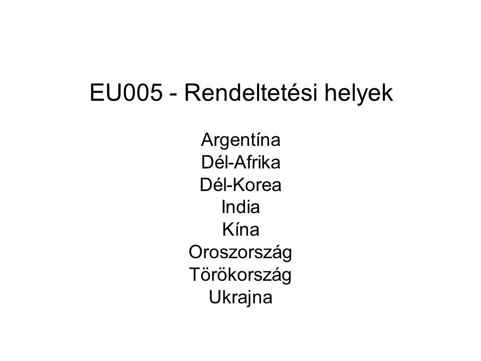 EU005 - Rendeltetési helyek Argentína Dél-Afrika Dél-Korea India Kína Oroszország Törökország Ukrajna