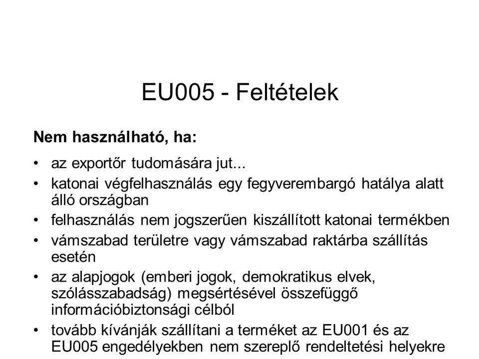EU005 - Feltételek Nem használható, ha: az exportőr tudomására jut...