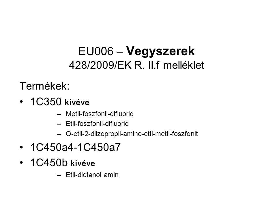 EU006 – Vegyszerek 428/2009/EK R.