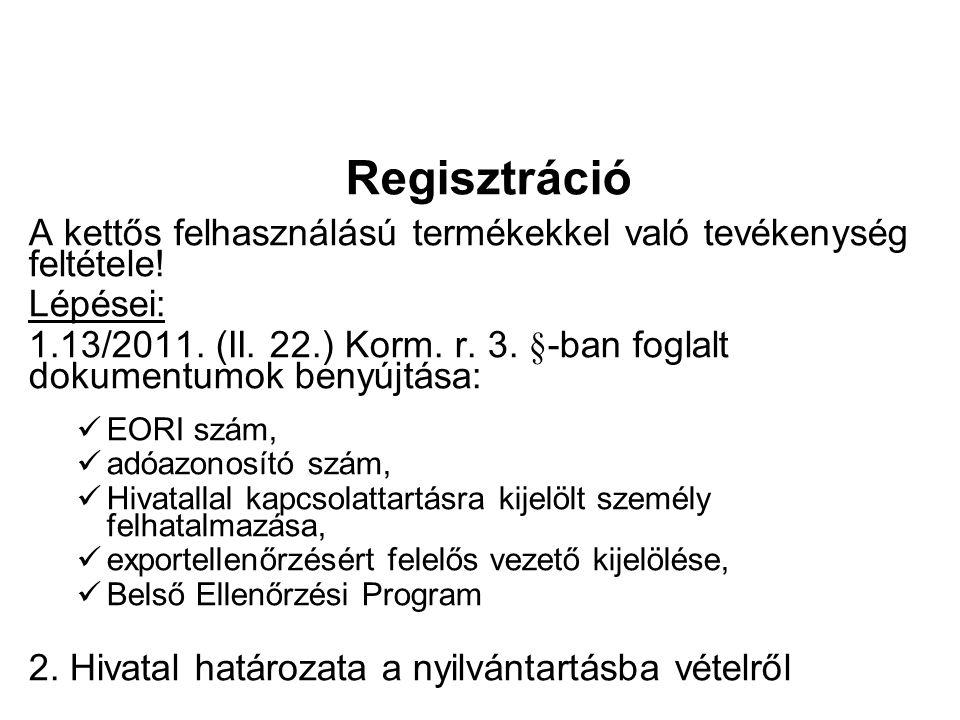 Regisztráció A kettős felhasználású termékekkel való tevékenység feltétele.