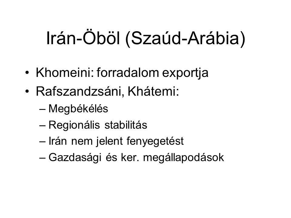 Irán-Öböl (Szaúd-Arábia) Khomeini: forradalom exportja Rafszandzsáni, Khátemi: –Megbékélés –Regionális stabilitás –Irán nem jelent fenyegetést –Gazdasági és ker.