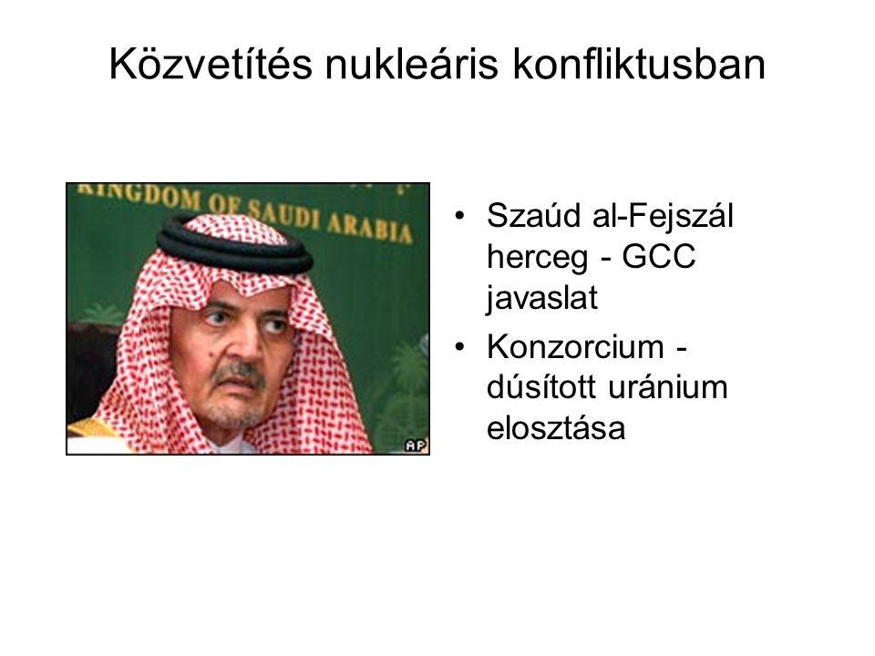 Közvetítés nukleáris konfliktusban Szaúd al-Fejszál herceg - GCC javaslat Konzorcium - dúsított uránium elosztása