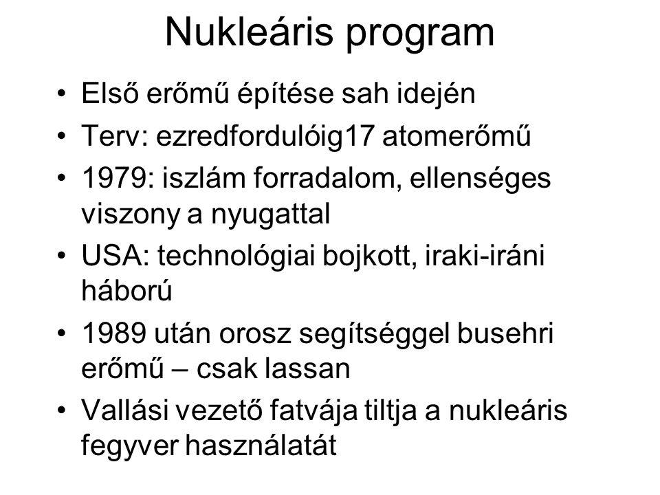 Nukleáris program Első erőmű építése sah idején Terv: ezredfordulóig17 atomerőmű 1979: iszlám forradalom, ellenséges viszony a nyugattal USA: technológiai bojkott, iraki-iráni háború 1989 után orosz segítséggel busehri erőmű – csak lassan Vallási vezető fatvája tiltja a nukleáris fegyver használatát