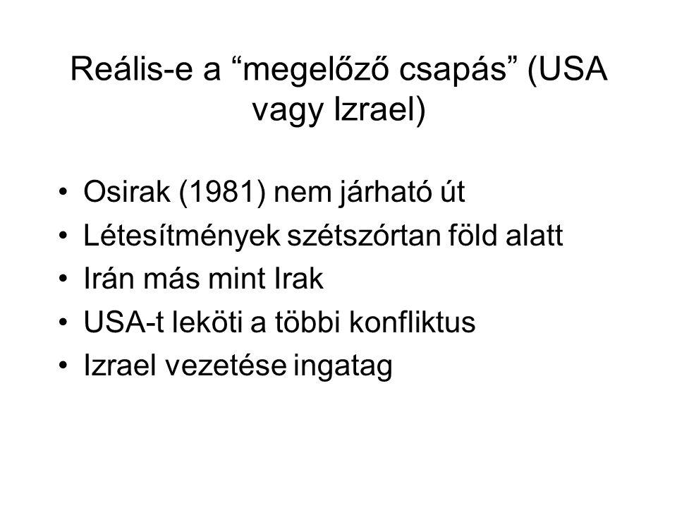 Reális-e a megelőző csapás (USA vagy Izrael) Osirak (1981) nem járható út Létesítmények szétszórtan föld alatt Irán más mint Irak USA-t leköti a többi konfliktus Izrael vezetése ingatag