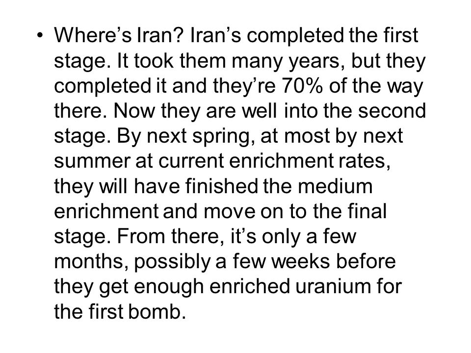Where's Iran.Iran's completed the first stage.