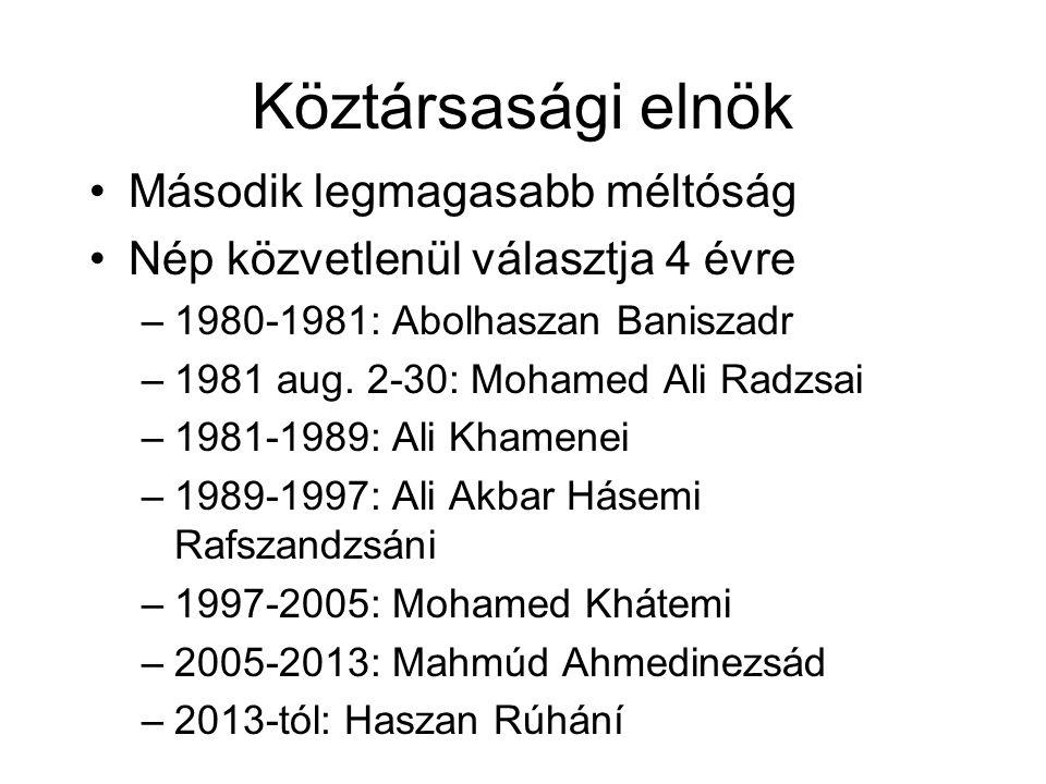 Köztársasági elnök Második legmagasabb méltóság Nép közvetlenül választja 4 évre –1980-1981: Abolhaszan Baniszadr –1981 aug.