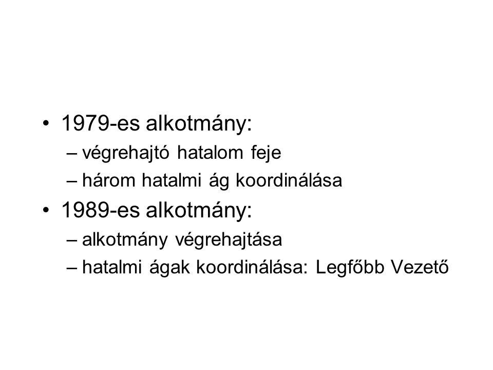 1979-es alkotmány: –végrehajtó hatalom feje –három hatalmi ág koordinálása 1989-es alkotmány: –alkotmány végrehajtása –hatalmi ágak koordinálása: Legfőbb Vezető