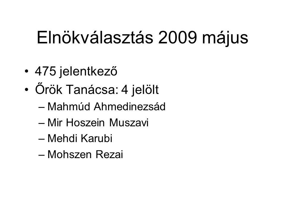 Elnökválasztás 2009 május 475 jelentkező Őrök Tanácsa: 4 jelölt –Mahmúd Ahmedinezsád –Mir Hoszein Muszavi –Mehdi Karubi –Mohszen Rezai