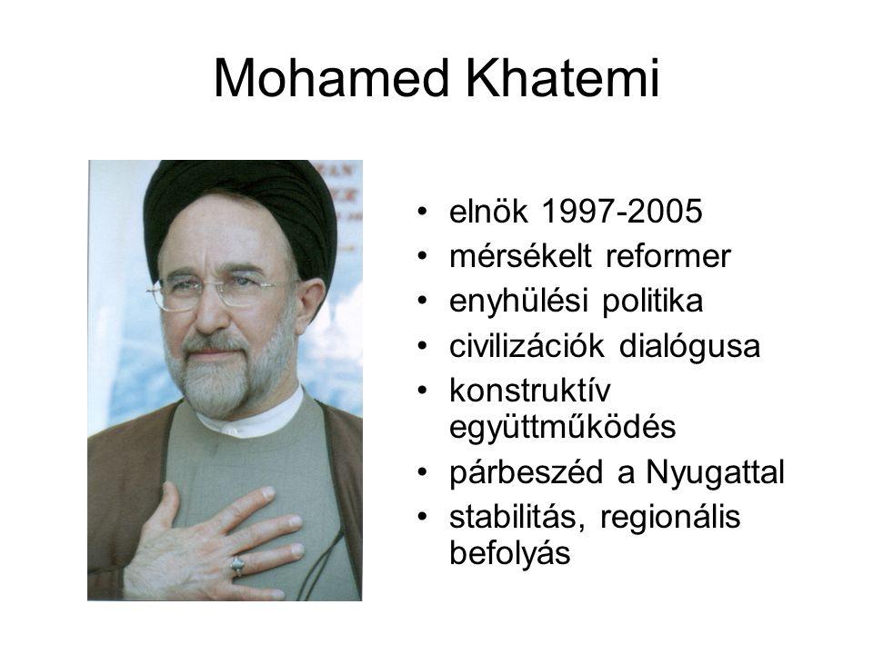 Mohamed Khatemi elnök 1997-2005 mérsékelt reformer enyhülési politika civilizációk dialógusa konstruktív együttműködés párbeszéd a Nyugattal stabilitás, regionális befolyás