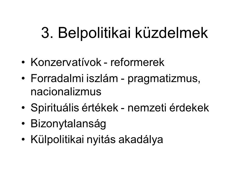 3. Belpolitikai küzdelmek Konzervatívok - reformerek Forradalmi iszlám - pragmatizmus, nacionalizmus Spirituális értékek - nemzeti érdekek Bizonytalan