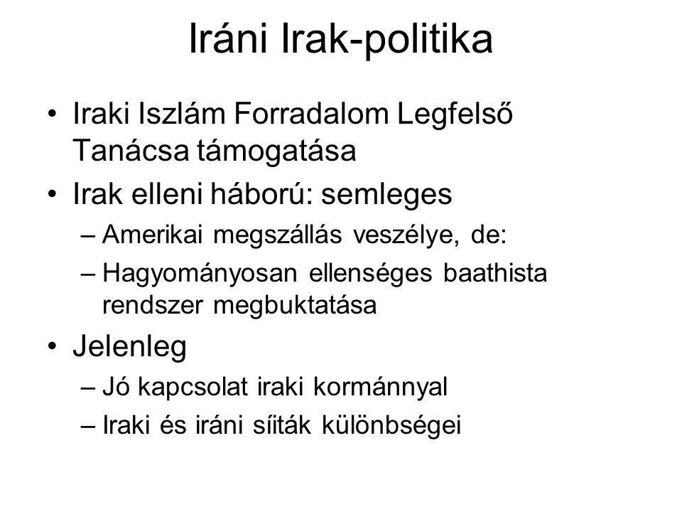 Iráni Irak-politika Iraki Iszlám Forradalom Legfelső Tanácsa támogatása Irak elleni háború: semleges –Amerikai megszállás veszélye, de: –Hagyományosan ellenséges baathista rendszer megbuktatása Jelenleg –Jó kapcsolat iraki kormánnyal –Iraki és iráni síiták különbségei