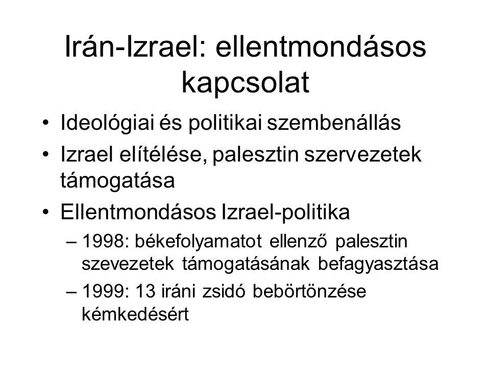 Irán-Izrael: ellentmondásos kapcsolat Ideológiai és politikai szembenállás Izrael elítélése, palesztin szervezetek támogatása Ellentmondásos Izrael-politika –1998: békefolyamatot ellenző palesztin szevezetek támogatásának befagyasztása –1999: 13 iráni zsidó bebörtönzése kémkedésért