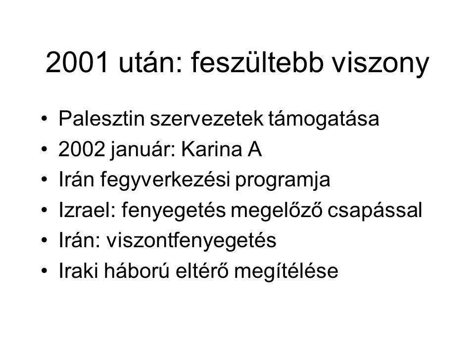 2001 után: feszültebb viszony Palesztin szervezetek támogatása 2002 január: Karina A Irán fegyverkezési programja Izrael: fenyegetés megelőző csapással Irán: viszontfenyegetés Iraki háború eltérő megítélése