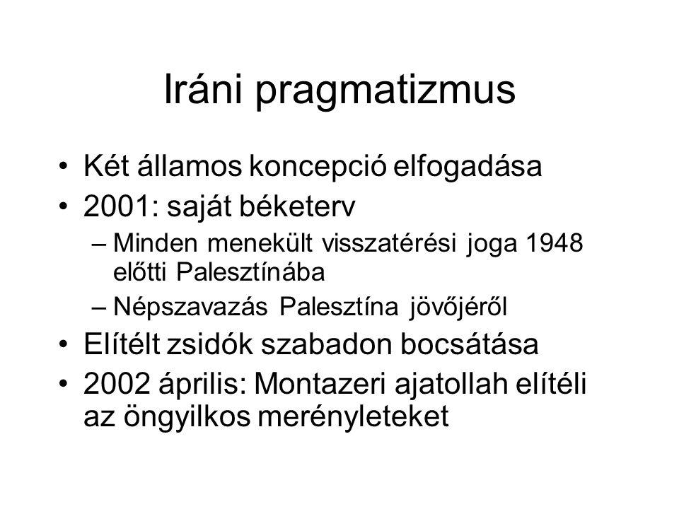 Iráni pragmatizmus Két államos koncepció elfogadása 2001: saját béketerv –Minden menekült visszatérési joga 1948 előtti Palesztínába –Népszavazás Palesztína jövőjéről Elítélt zsidók szabadon bocsátása 2002 április: Montazeri ajatollah elítéli az öngyilkos merényleteket