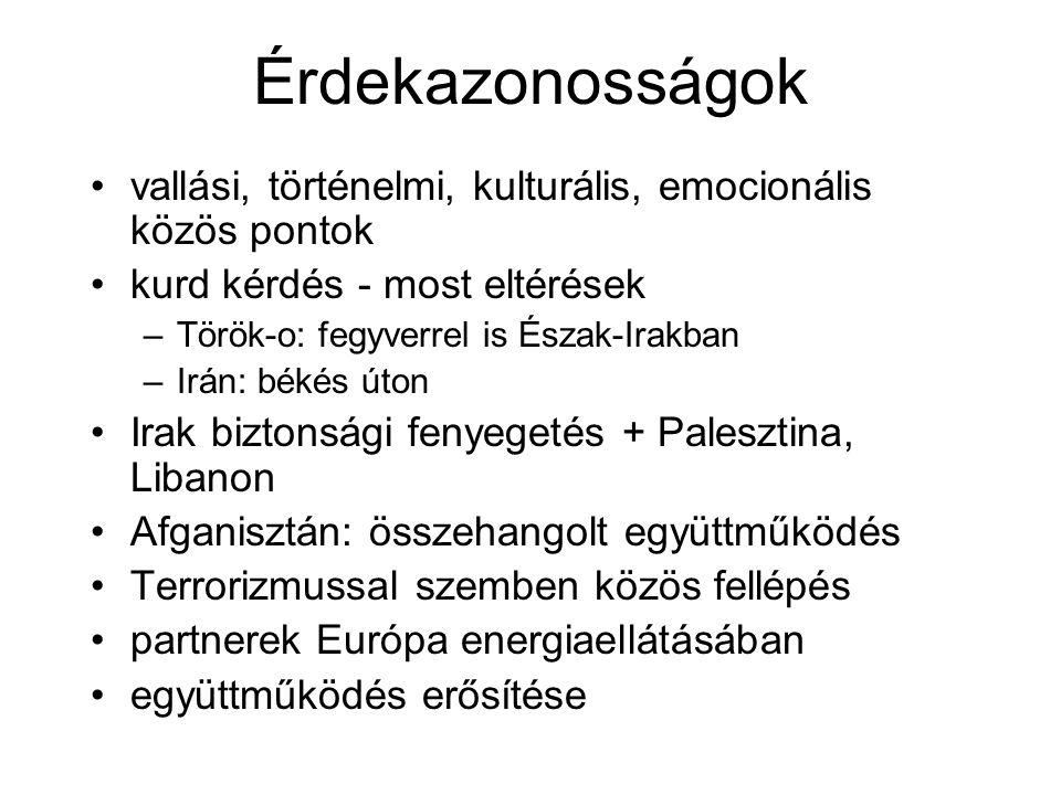 Érdekazonosságok vallási, történelmi, kulturális, emocionális közös pontok kurd kérdés - most eltérések –Török-o: fegyverrel is Észak-Irakban –Irán: békés úton Irak biztonsági fenyegetés + Palesztina, Libanon Afganisztán: összehangolt együttműködés Terrorizmussal szemben közös fellépés partnerek Európa energiaellátásában együttműködés erősítése