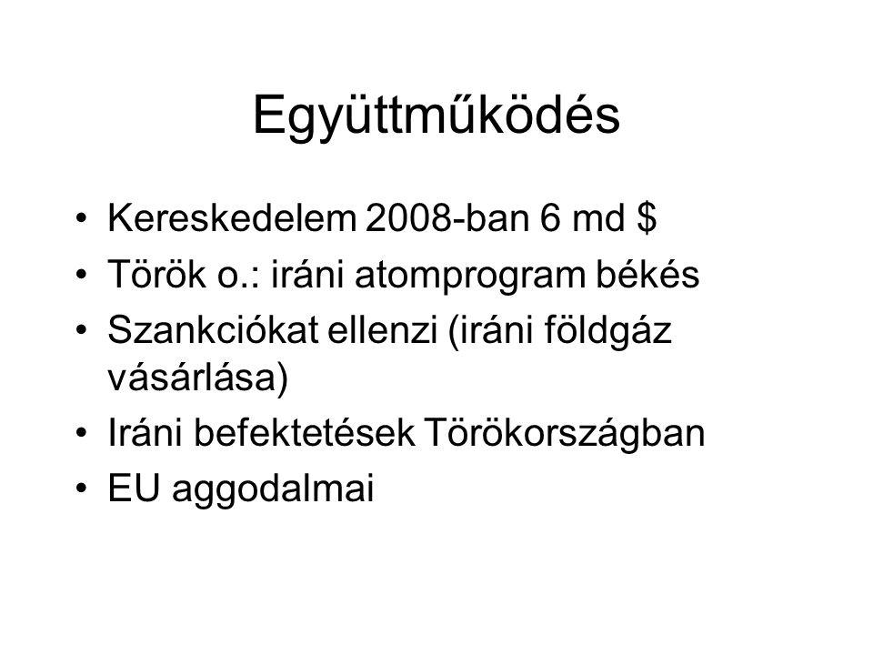 Együttműködés Kereskedelem 2008-ban 6 md $ Török o.: iráni atomprogram békés Szankciókat ellenzi (iráni földgáz vásárlása) Iráni befektetések Törökországban EU aggodalmai