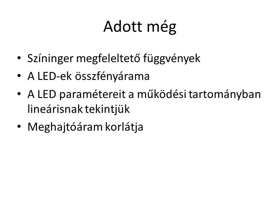 Adott még Színinger megfeleltető függvények A LED-ek összfényárama A LED paramétereit a működési tartományban lineárisnak tekintjük Meghajtóáram korlá