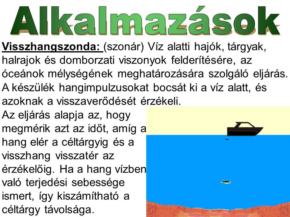 Visszhangszonda: (szonár) Víz alatti hajók, tárgyak, halrajok és domborzati viszonyok felderítésére, az óceánok mélységének meghatározására szolgáló e