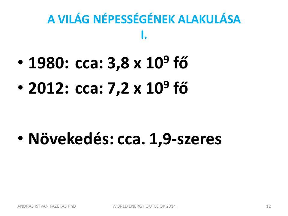 A VILÁG NÉPESSÉGÉNEK ALAKULÁSA I. 1980:cca: 3,8 x 10 9 fő 2012:cca: 7,2 x 10 9 fő Növekedés: cca. 1,9-szeres ANDRAS ISTVAN FAZEKAS PhDWORLD ENERGY OUT