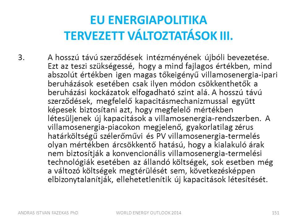 EU ENERGIAPOLITIKA TERVEZETT VÁLTOZTATÁSOK III. 3.A hosszú távú szerződések intézményének újbóli bevezetése. Ezt az teszi szükségessé, hogy a mind faj