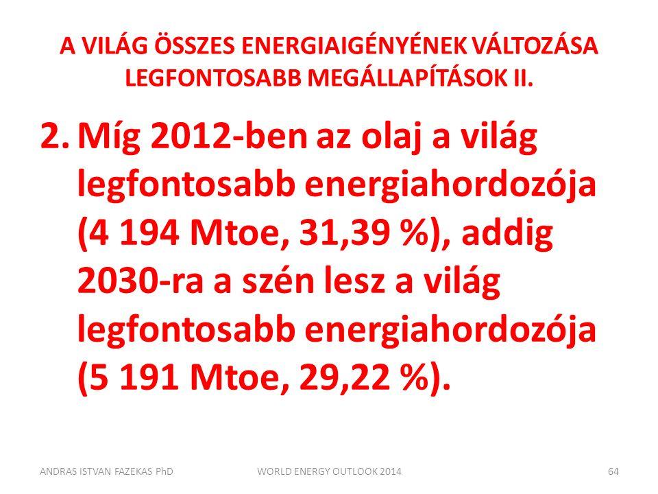 A VILÁG ÖSSZES ENERGIAIGÉNYÉNEK VÁLTOZÁSA LEGFONTOSABB MEGÁLLAPÍTÁSOK II. 2.Míg 2012-ben az olaj a világ legfontosabb energiahordozója (4 194 Mtoe, 31