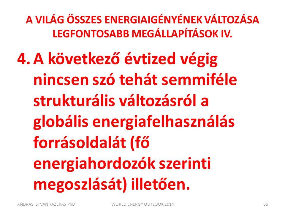 A VILÁG ÖSSZES ENERGIAIGÉNYÉNEK VÁLTOZÁSA LEGFONTOSABB MEGÁLLAPÍTÁSOK IV. 4.A következő évtized végig nincsen szó tehát semmiféle strukturális változá