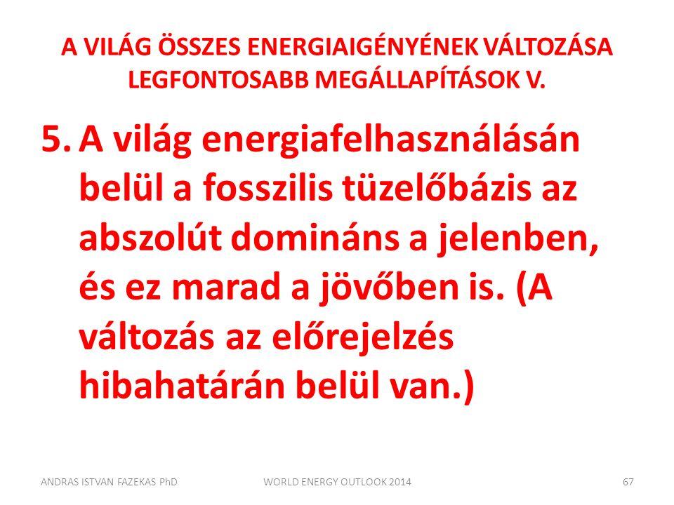 A VILÁG ÖSSZES ENERGIAIGÉNYÉNEK VÁLTOZÁSA LEGFONTOSABB MEGÁLLAPÍTÁSOK V. 5.A világ energiafelhasználásán belül a fosszilis tüzelőbázis az abszolút dom