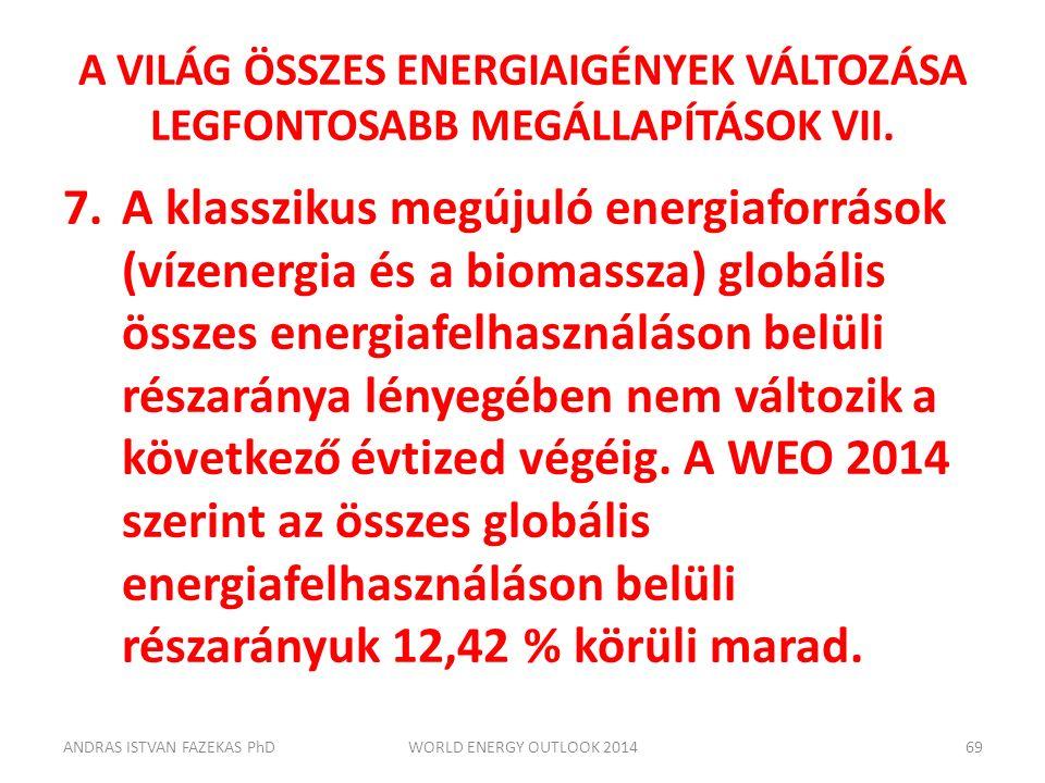 A VILÁG ÖSSZES ENERGIAIGÉNYEK VÁLTOZÁSA LEGFONTOSABB MEGÁLLAPÍTÁSOK VII. 7.A klasszikus megújuló energiaforrások (vízenergia és a biomassza) globális