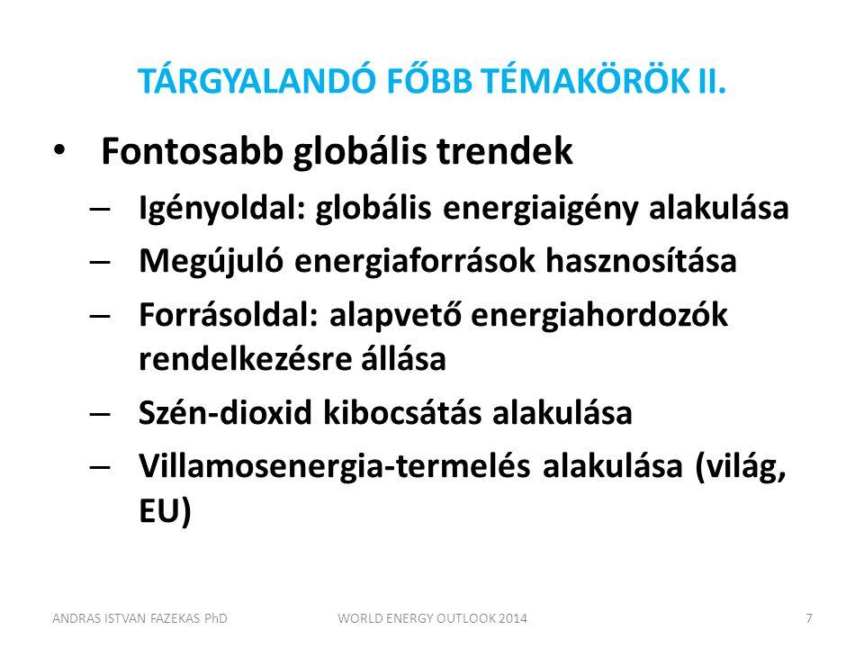 TÁRGYALANDÓ FŐBB TÉMAKÖRÖK II. Fontosabb globális trendek – Igényoldal: globális energiaigény alakulása – Megújuló energiaforrások hasznosítása – Forr