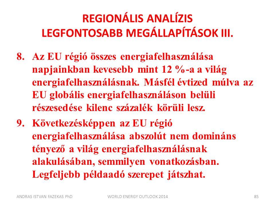 REGIONÁLIS ANALÍZIS LEGFONTOSABB MEGÁLLAPÍTÁSOK III. 8.Az EU régió összes energiafelhasználása napjainkban kevesebb mint 12 %-a a világ energiafelhasz