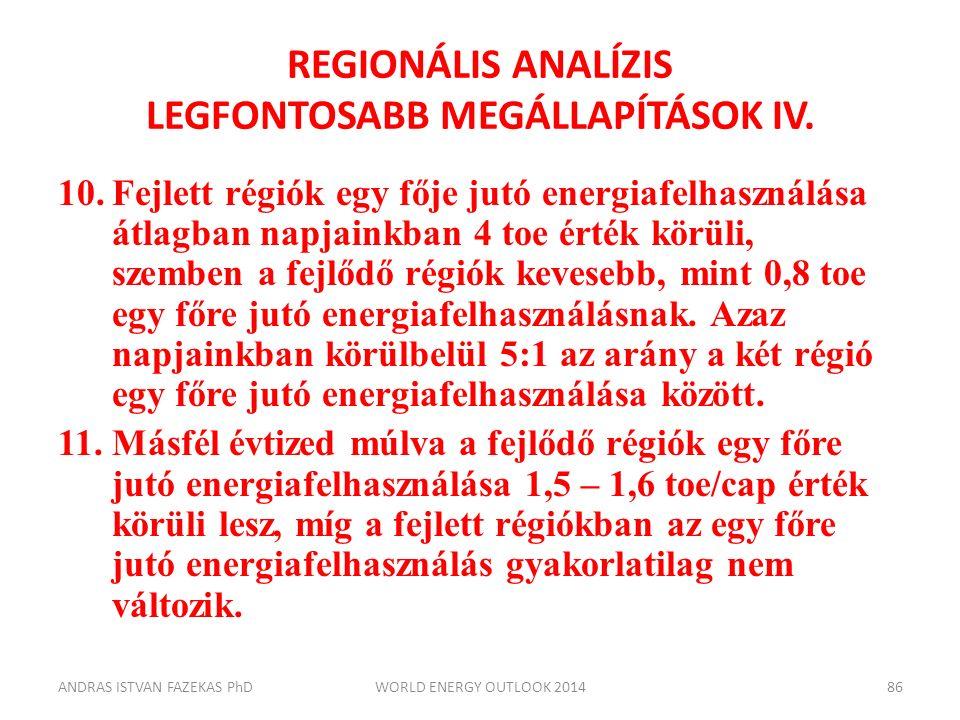 REGIONÁLIS ANALÍZIS LEGFONTOSABB MEGÁLLAPÍTÁSOK IV. 10.Fejlett régiók egy fője jutó energiafelhasználása átlagban napjainkban 4 toe érték körüli, szem