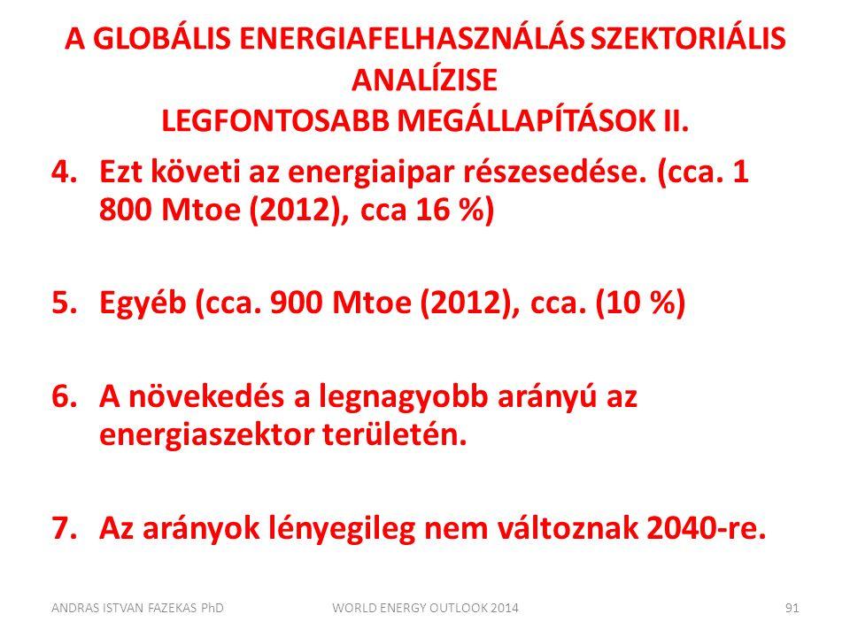 A GLOBÁLIS ENERGIAFELHASZNÁLÁS SZEKTORIÁLIS ANALÍZISE LEGFONTOSABB MEGÁLLAPÍTÁSOK II. 4.Ezt követi az energiaipar részesedése. (cca. 1 800 Mtoe (2012)