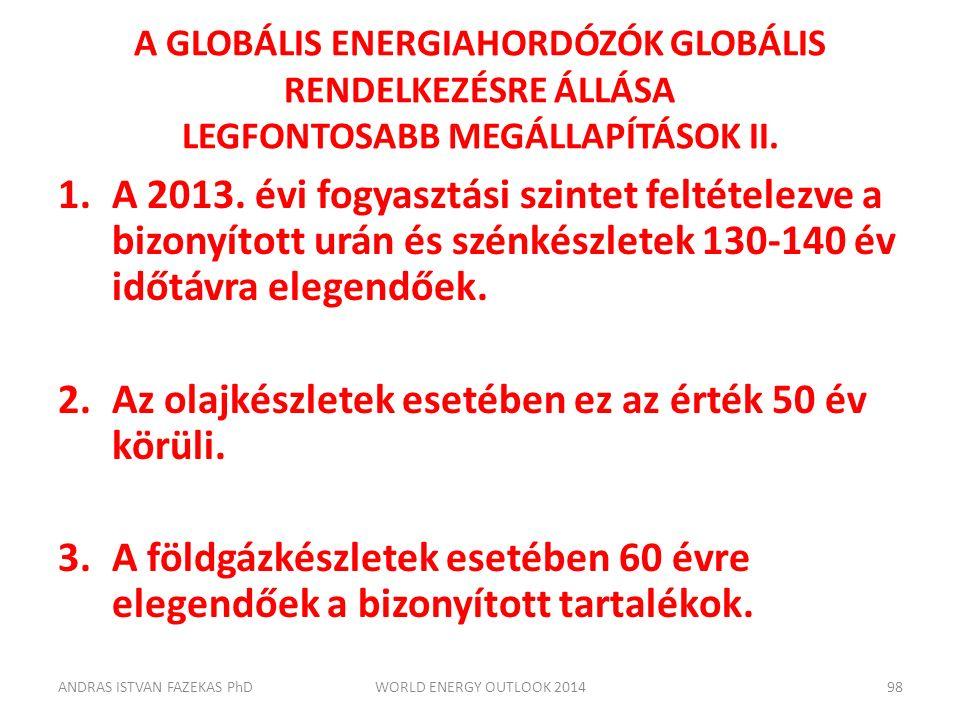 A GLOBÁLIS ENERGIAHORDÓZÓK GLOBÁLIS RENDELKEZÉSRE ÁLLÁSA LEGFONTOSABB MEGÁLLAPÍTÁSOK II. 1.A 2013. évi fogyasztási szintet feltételezve a bizonyított