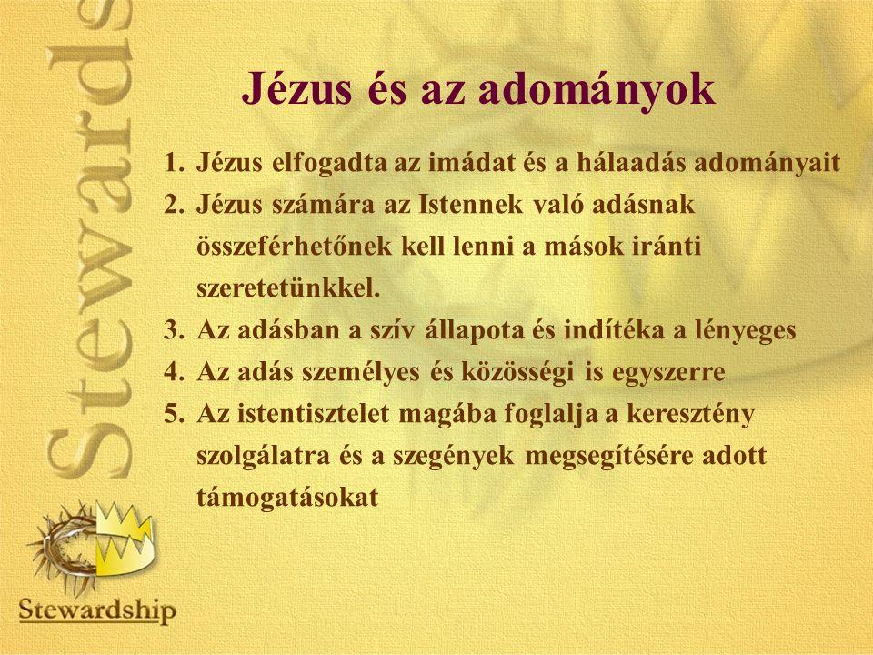 Jézus és az adományok 1.Jézus elfogadta az imádat és a hálaadás adományait 2.Jézus számára az Istennek való adásnak összeférhetőnek kell lenni a mások