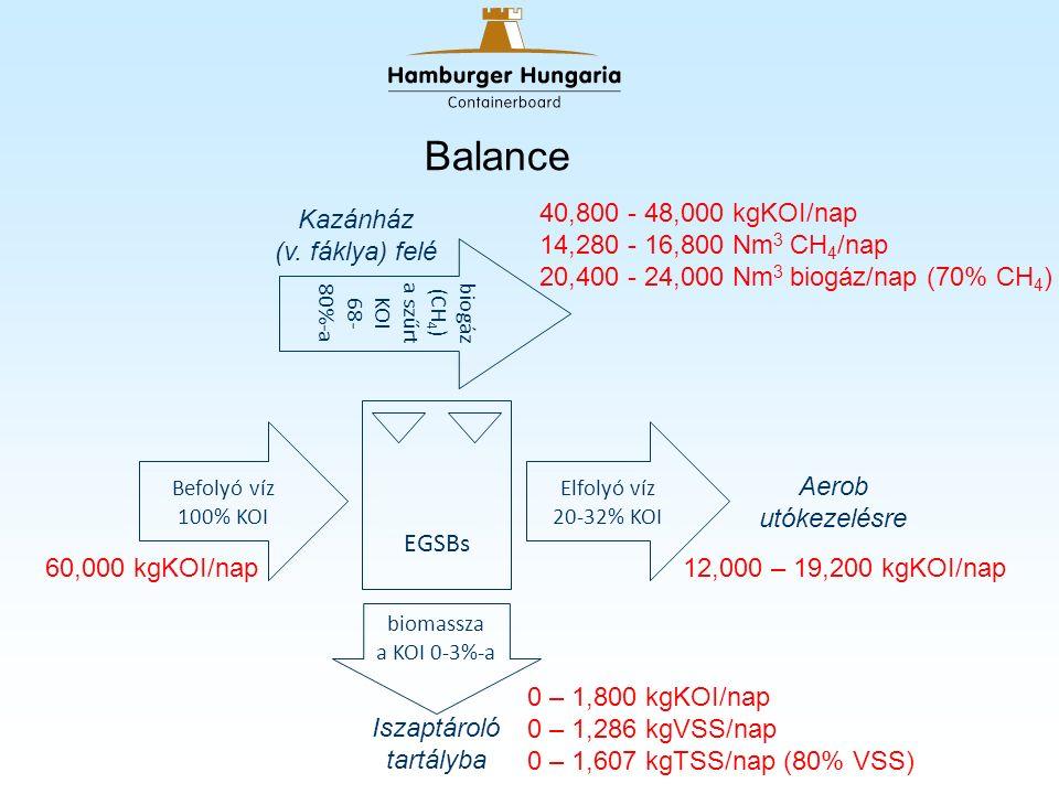 Balance Befolyó víz 100% KOI Elfolyó víz 20-32% KOI biog áz (CH 4 ) a szűrt KOI 68- 80% -a biomassza a KOI 0-3%-a EGSBs Kazánház (v.