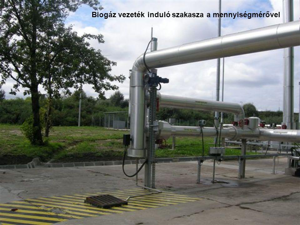 Biogáz vezeték induló szakasza a mennyiségmérővel