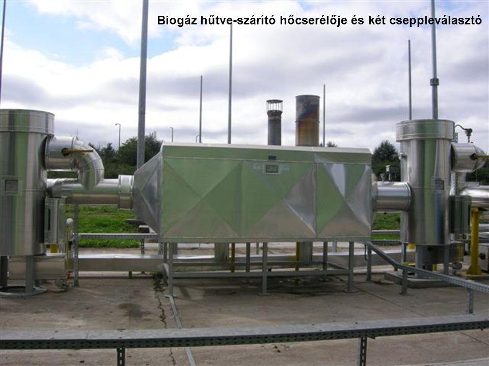 Biogáz hűtve-szárító hőcserélője és két cseppleválasztó