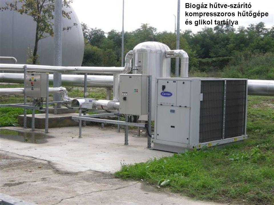 Biogáz hűtve-szárító kompresszoros hűtőgépe és glikol tartálya