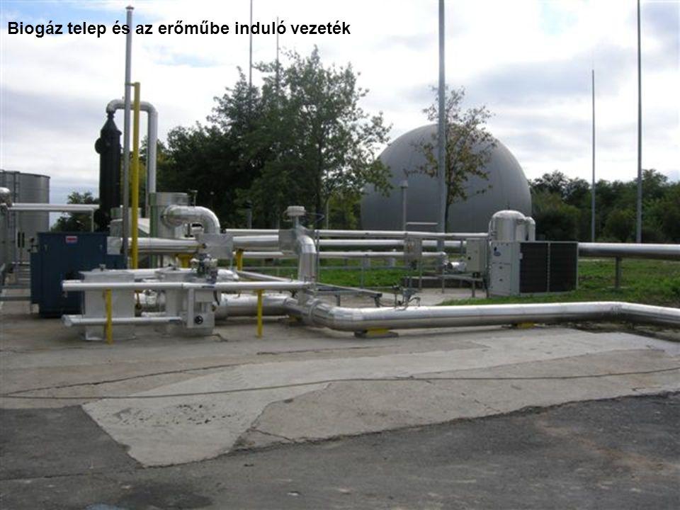 Biogáz telep és az erőműbe induló vezeték